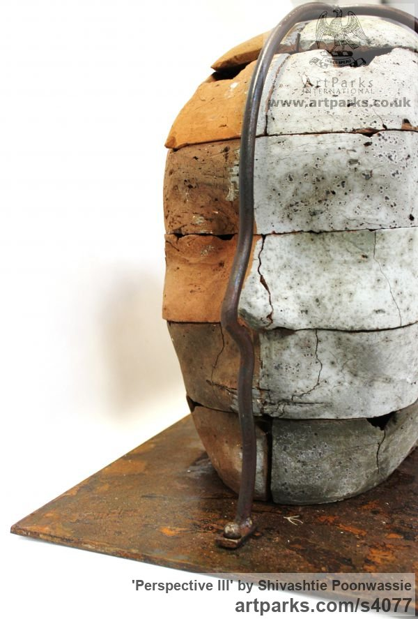 Brick Focal Point Abstract Contemporary Modern sculpture sculpture by sculptor Shivashtie Poonwassie titled: 'Perspective III (Big Outsize Bust/Head garden Yard sculpture)'