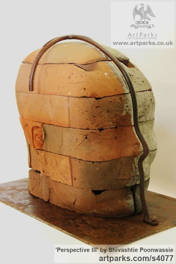 Brick Focal Point Abstract Contemporary Modern sculpture sculpture by sculptor Shivashtie Poonwassie titled: 'Perspective III (Big Outsize Bust/Head garden Yard sculpture)' - Artwork View 2