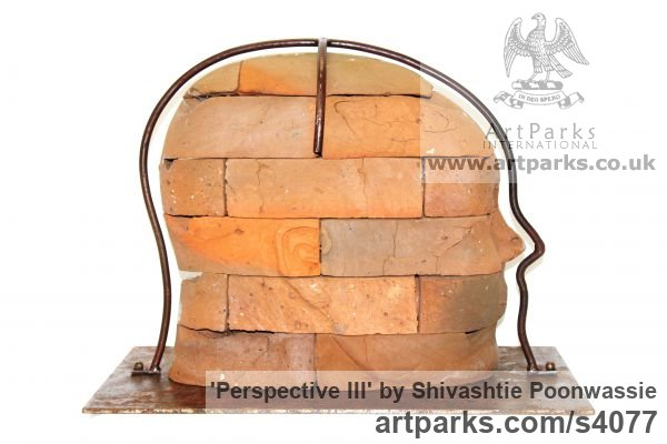 Brick Focal Point Abstract Contemporary Modern sculpture sculpture by sculptor Shivashtie Poonwassie titled: 'Perspective III (Big Outsize Bust/Head garden Yard sculpture)' - Artwork View 3
