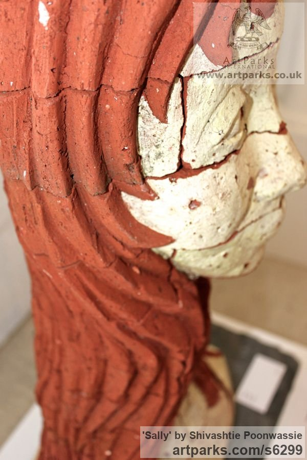 Brick Garden Or Yard / Outside and Outdoor sculpture by sculptor Shivashtie Poonwassie titled: 'Sally (ceramic Brick/Terracotta Head/Bust garden/Yard sculpture/statue)' - Artwork View 3