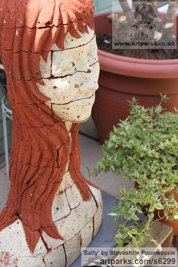 Brick Garden Or Yard / Outside and Outdoor sculpture by sculptor Shivashtie Poonwassie titled: 'Sally (ceramic Brick/Terracotta Head/Bust garden/Yard sculpture/statue)' - Artwork View 4