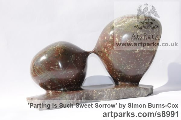 Polyphant Carved Abstract Contemporary Modern sculpture carving sculpture by sculptor Simon Burns-Cox titled: 'Parting Is Such Sweet Sorrow (abstract Circular statue)' - Artwork View 5