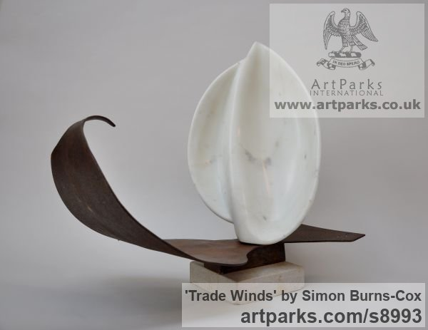 Marble and Metal Carved Abstract Contemporary Modern sculpture carving sculpture by sculptor Simon Burns-Cox titled: 'Trade Winds (Symbolic abstract Sailing Boat statue)' - Artwork View 3