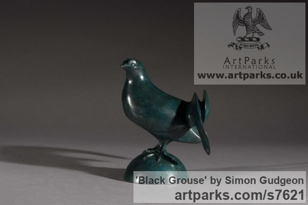 Bronze Tabletop Desktop Small Indoor Statuettes Figurines sculpture by sculptor Simon Gudgeon titled: 'Black Grouse (Small Stylised Game Cock Bird statuette sculpture)'