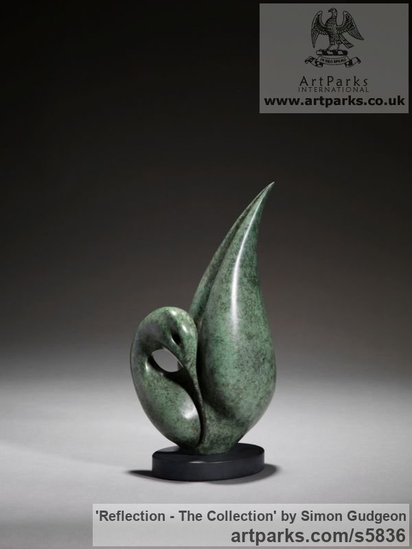 Bronze Varietal Mix of Bird Sculptures or sculpture by sculptor Simon Gudgeon titled: 'Reflection - The Collection (Small abstract Indoor Water Bird statue)'