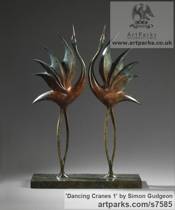 Bronze Garden Or Yard / Outside and Outdoor sculpture by sculptor Simon Gudgeon titled: 'Dancing Cranes1 (Bronze Semi abstract Contemporary garden statues)'