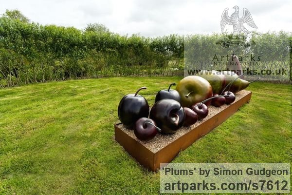 Bronze Garden Or Yard / Outside and Outdoor sculpture by sculptor Simon Gudgeon titled: 'Plums (each)'