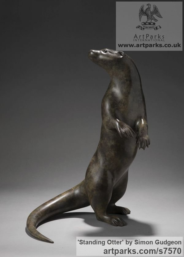 Bronze Wild Animals and Wild Life sculpture by sculptor Simon Gudgeon titled: 'Standing Otter (bronze life size Alert Upright sculpture)'