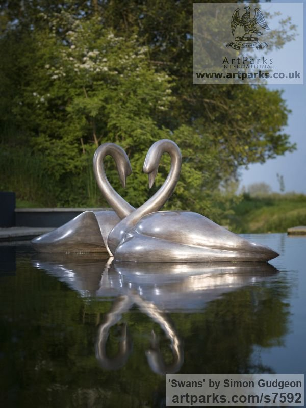 Bronze Varietal Mix of Bird Sculptures or sculpture by sculptor Simon Gudgeon titled: 'Swans (bronze White life size Swans Swimming sculpture)'