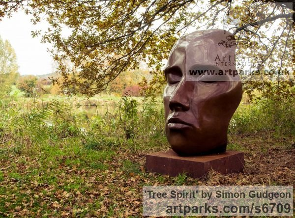 Bronze Garden Or Yard / Outside and Outdoor sculpture by sculptor Simon Gudgeon titled: 'Tree Spirit (Big Outsize abstract Head Outdoor/Outside sculpture/statue)'