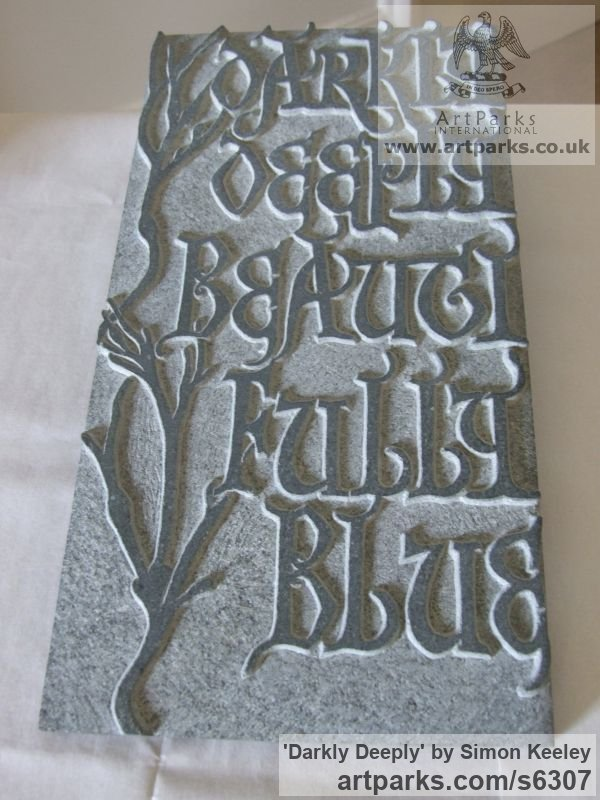 Stone Wall Mounted or Wall Hanging sculpture by sculptor Simon Keeley titled: 'Darkly Deeply (Carved Bas Relief Medieval Lettering/Poem Panel)' - Artwork View 1