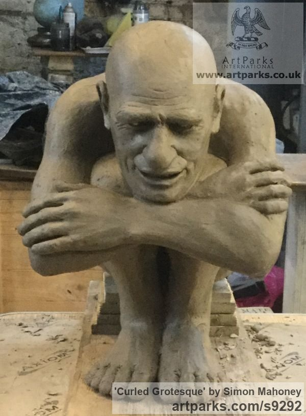 To be bronze Fantasy sculpture or sculpture by sculptor Simon Mahoney titled: 'Curled Grotesque (Caracature garden Yard statues)' - Artwork View 2