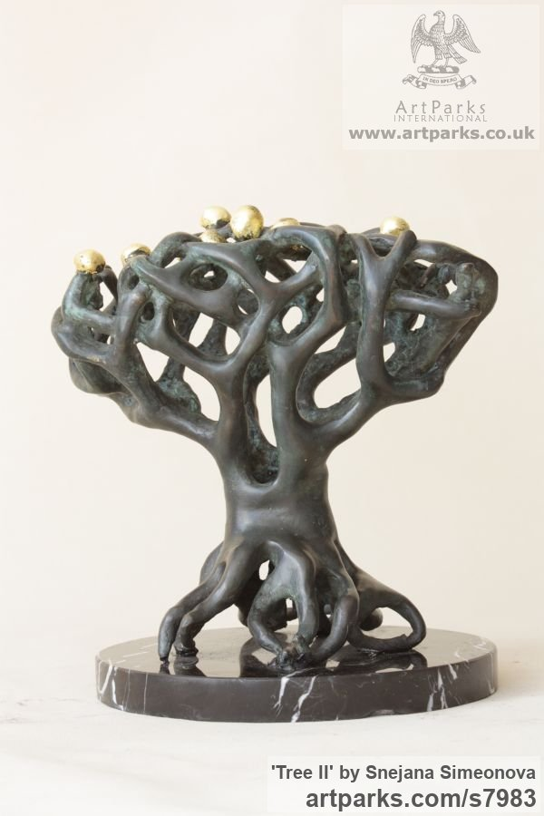 Bronze Abstract Contemporary Modern Outdoor Outside Garden / Yard sculpture statuary sculpture by sculptor Snejana Simeonova titled: 'Tree II (Little abstract Tree Indoor statuettes)'