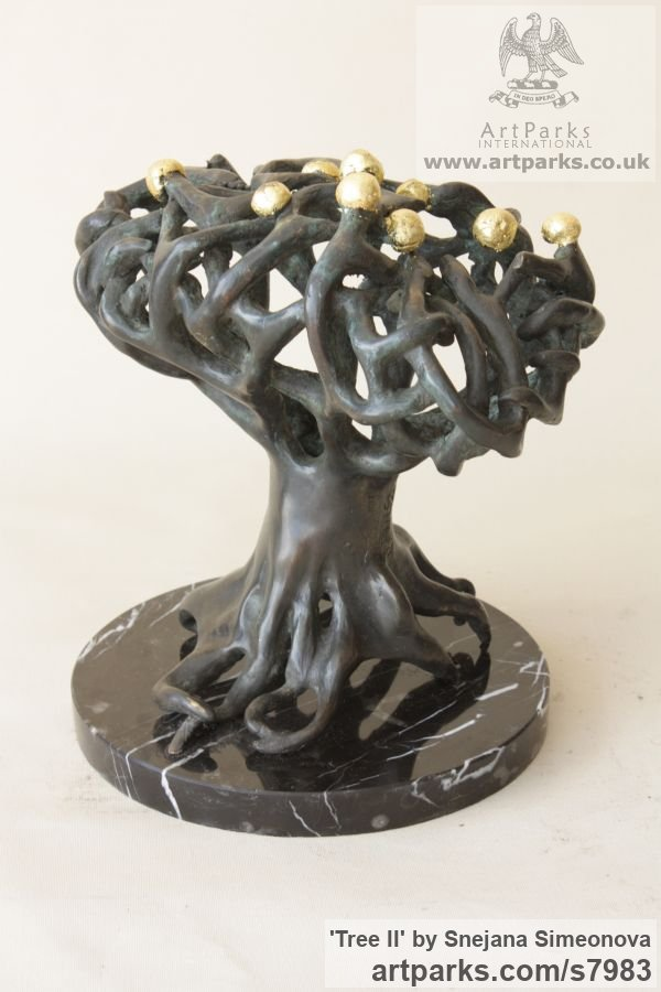 Bronze Abstract Contemporary Modern Outdoor Outside Garden / Yard sculpture statuary sculpture by sculptor Snejana Simeonova titled: 'Tree II (Little abstract Tree Indoor statuettes)' - Artwork View 3