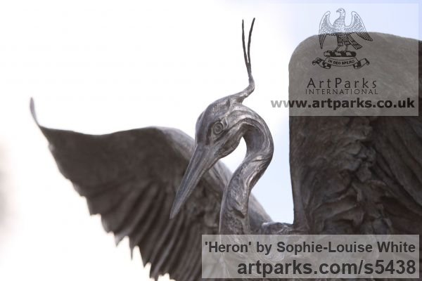 Lost-wax Foundry Bronze Garden Or Yard / Outside and Outdoor sculpture by sculptor Sophie-Louise White titled: 'Heron (Bronze Flying/Landing life size Heron garden/Pond statues)' - Artwork View 2