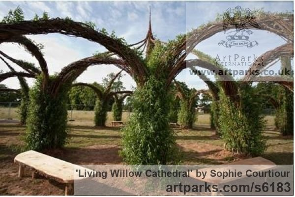 Willow Garden Or Yard / Outside and Outdoor sculpture by sculptor Sophie Courtiour titled: 'Living Willow Cathedral (Woven Architectural Commission garden sculpture)'