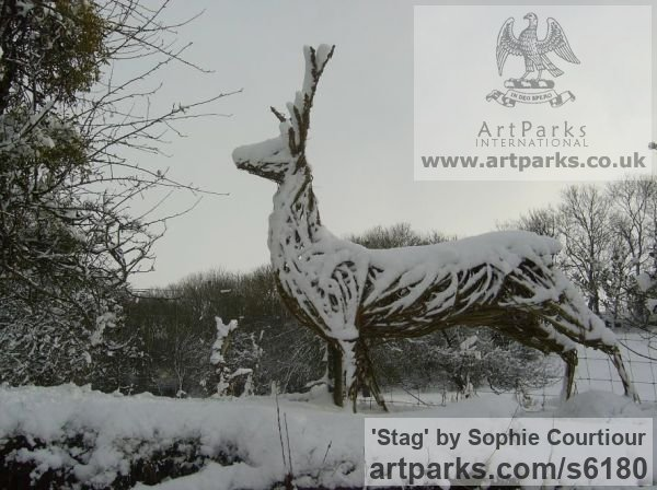 Willow Deer sculpture by sculptor Sophie Courtiour titled: 'Stag (Woven Willow life size garden sculpture/statue)' - Artwork View 1