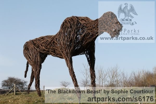 Willow Garden Or Yard / Outside and Outdoor sculpture by sculptor Sophie Courtiour titled: 'The Blackdown Beast (Woven Willow abstract Prowling Animal sculpture)' - Artwork View 2