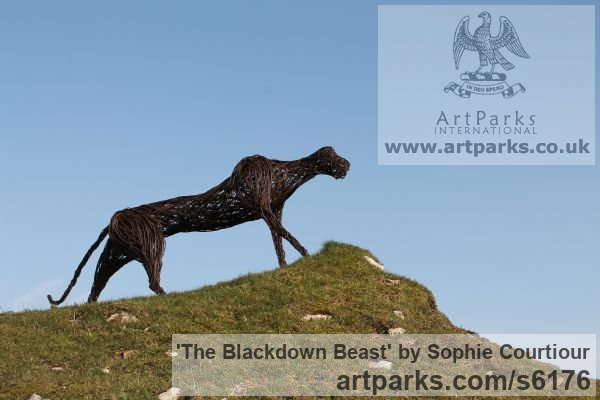 Willow Garden Or Yard / Outside and Outdoor sculpture by sculptor Sophie Courtiour titled: 'The Blackdown Beast (Woven Willow abstract Prowling Animal sculpture)' - Artwork View 3