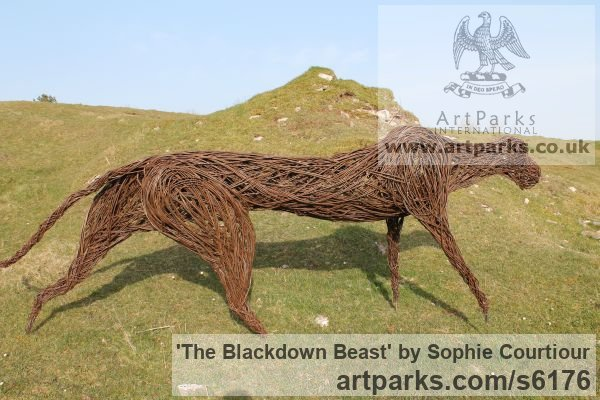 Willow Garden Or Yard / Outside and Outdoor sculpture by sculptor Sophie Courtiour titled: 'The Blackdown Beast (Woven Willow Animal statue)' - Artwork View 4