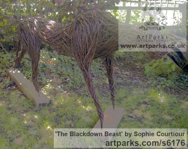 Willow Garden Or Yard / Outside and Outdoor sculpture by sculptor Sophie Courtiour titled: 'The Blackdown Beast (Woven Willow Animal statue)' - Artwork View 5