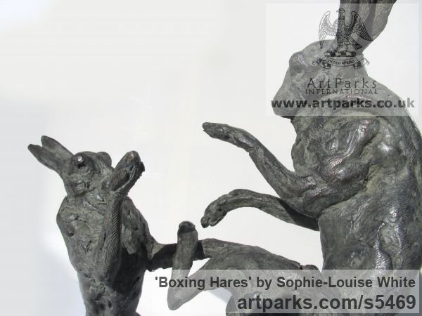 Lost- wax Foundry bronze Field Sports, Game Birds and Game Animals sculpture by sculptor Sophie-Louise White titled: 'Boxing Hares (Little/Small Bronze Mad March Hares sculptures/statues)'