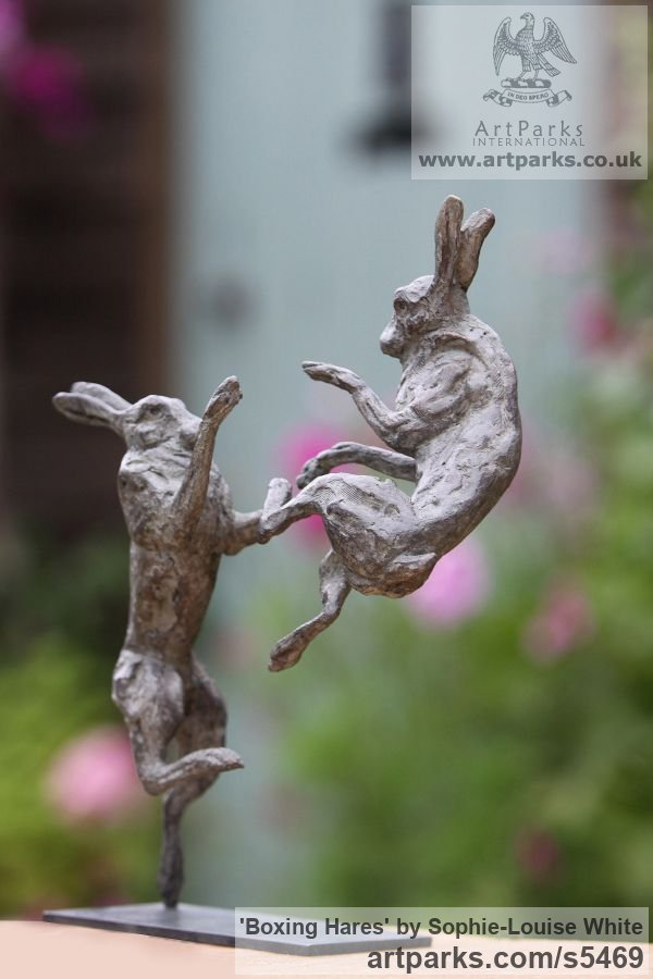 Lost- wax Foundry bronze Field Sports, Game Birds and Game Animals sculpture by sculptor Sophie-Louise White titled: 'Boxing Hares (Little/Small Bronze Mad March Hares sculptures/statues)' - Artwork View 2