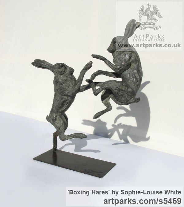 Lost- wax Foundry bronze Field Sports, Game Birds and Game Animals sculpture by sculptor Sophie-Louise White titled: 'Boxing Hares (Little/Small Bronze Mad March Hares sculptures/statues)' - Artwork View 5