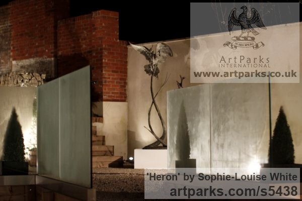 Lost-wax Foundry Bronze Garden Or Yard / Outside and Outdoor sculpture by sculptor Sophie-Louise White titled: 'Heron (Bronze Flying/Landing life size Heron garden/Pond statues)' - Artwork View 4