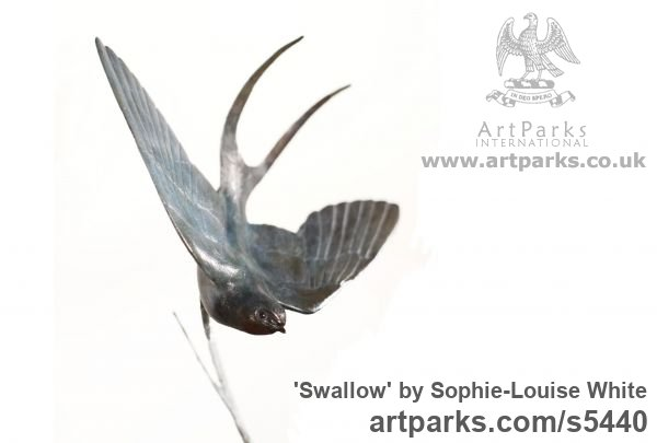 Bronze Varietal Mix of Bird Sculptures or sculpture by sculptor Sophie-Louise White titled: 'Swallow (Swooping Blue Bird bronze statues or sculptures)'