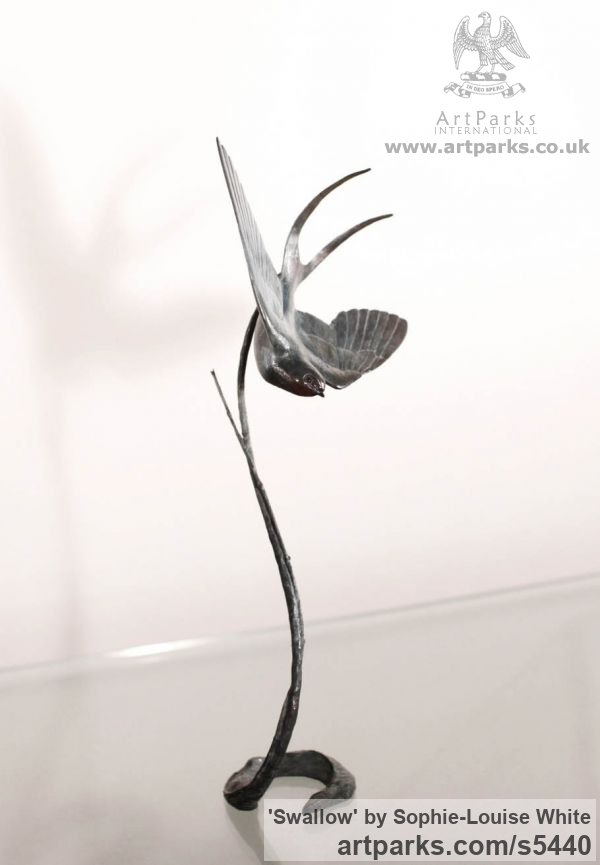 Bronze Varietal Mix of Bird Sculptures or sculpture by sculptor Sophie-Louise White titled: 'Swallow (Swooping Blue Bird bronze statues or sculptures)' - Artwork View 2