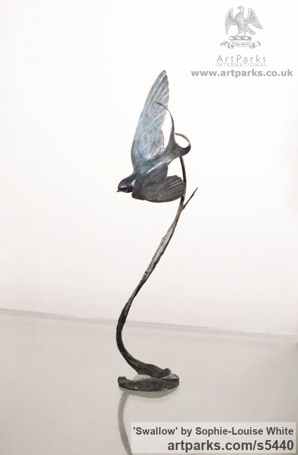 Bronze Varietal Mix of Bird Sculptures or sculpture by sculptor Sophie-Louise White titled: 'Swallow (Swooping Blue Bird Bronze statues or sculptures)' - Artwork View 3