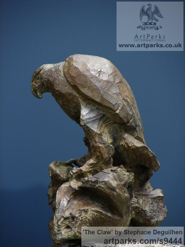 Bronze Wild Animals and Wild Life sculpture by sculptor Stephane Deguilhen titled: 'The Claw (Bronze little Perched Eagle sculpture)' - Artwork View 2