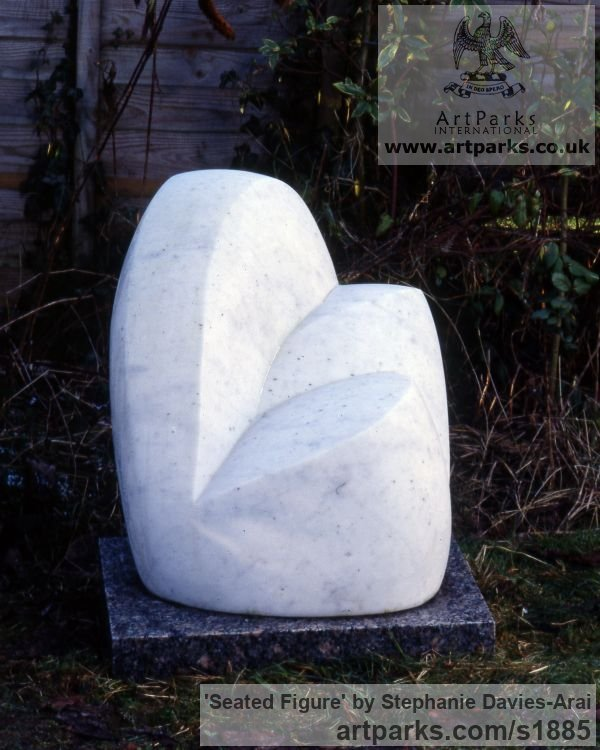 Marble Garden Or Yard / Outside and Outdoor sculpture by sculptor Stephanie Davies-Arai titled: 'Seated Figure (Carved stone Semi abstract figurative sculpture/statue)' - Artwork View 1