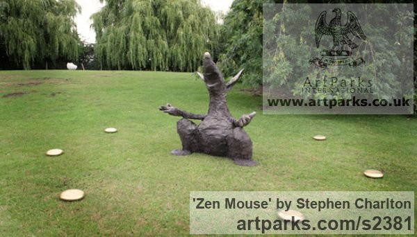 Bronze Garden Or Yard / Outside and Outdoor sculpture by sculptor Stephen Charlton titled: 'Zen Mouse (Fun Amusing Outsize Mouse sculpture)' - Artwork View 1