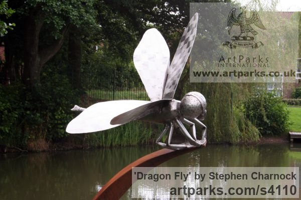 Corten Steel & Stainless Steel Garden Or Yard / Outside and Outdoor sculpture by sculptor Stephen Charnock titled: 'Dragon Fly (Metal Steel Giant Fly garden statue/sculptures/decoratio)' - Artwork View 3