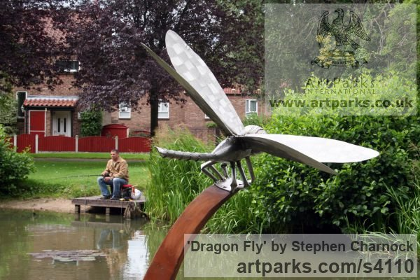 Corten Steel & Stainless Steel Garden Or Yard / Outside and Outdoor sculpture by sculptor Stephen Charnock titled: 'Dragon Fly (Metal Steel Giant Fly garden statue/sculptures/decoratio)' - Artwork View 5
