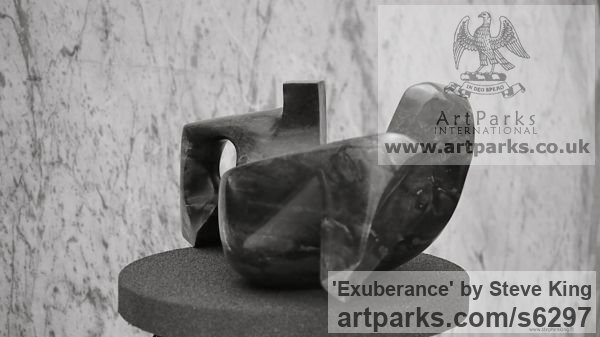 Serpintine Modern Abstract Contemporary Avant Garde Sculptures or Statues or statuettes or statuary sculpture by sculptor Steve King titled: 'Exuberance (Carved stone small inside interior statue/sculpture)' - Artwork View 3
