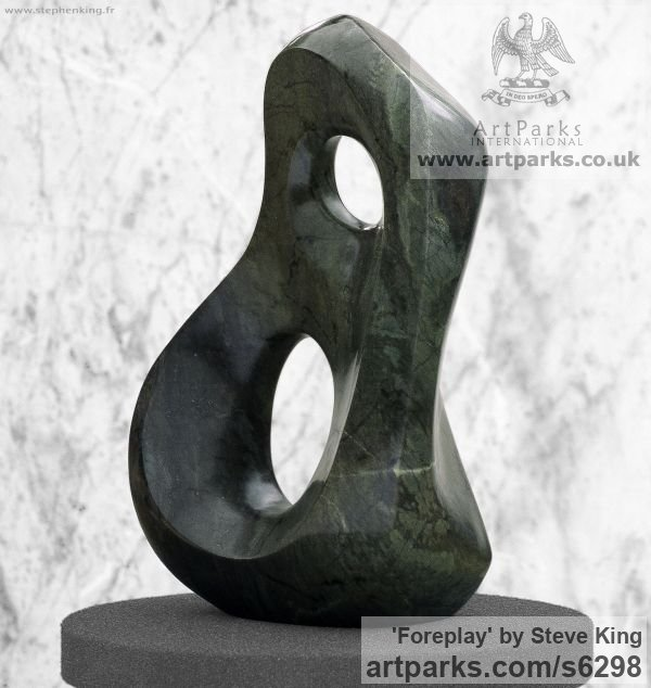 Serpentine Modern Abstract Contemporary Avant Garde Sculptures or Statues or statuettes or statuary sculpture by sculptor Steve King titled: 'Foreplay (Small Carved stone Indoor Contemporary statue/statuette)' - Artwork View 1