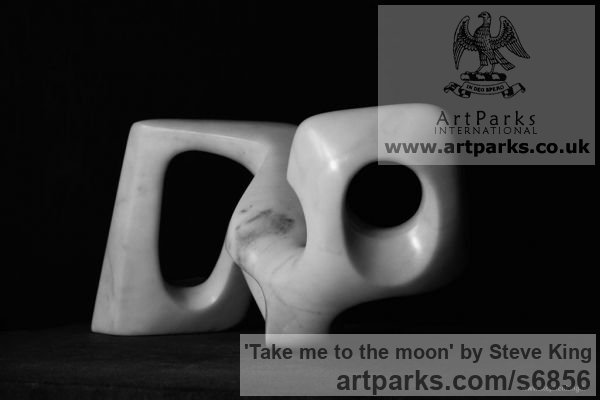 Carrara Marble Abstract Contemporary or Modern Large Public Art sculpture statuary sculpture by sculptor Steve King titled: 'Take me to the moon' - Artwork View 2