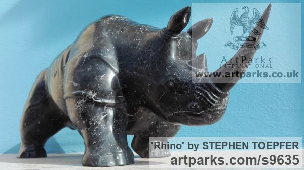 Stone Diorite Wild Animals and Wild Life sculpture by sculptor STEPHEN TOPFER titled: 'Rhino (Little Carved Stone Rhinoserus sculptures)'