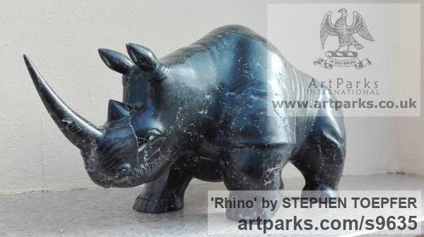Stone Diorite Wild Animals and Wild Life sculpture by sculptor STEPHEN TOPFER titled: 'Rhino (Little Carved Stone Rhinoserus sculptures)' - Artwork View 2