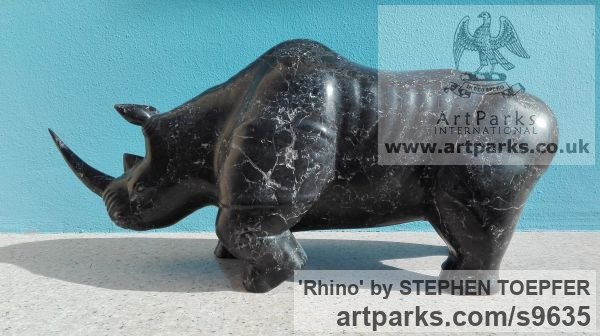 Stone Diorite Wild Animals and Wild Life sculpture by sculptor STEPHEN TOPFER titled: 'Rhino (Little Carved Stone Rhinoserus sculptures)' - Artwork View 3