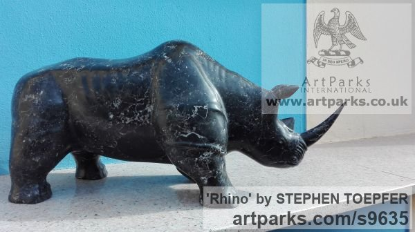 Stone Diorite Wild Animals and Wild Life sculpture by sculptor STEPHEN TOPFER titled: 'Rhino (Little Carved Stone Rhinoserus sculptures)' - Artwork View 5