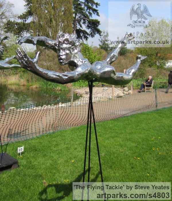Mirrored Aluminium on fibre glass Garden Or Yard / Outside and Outdoor sculpture by sculptor Steve Yeates titled: 'The Flying Tackle (Metal Rugby Player sculptures/sculptures for sale)'