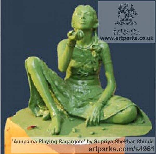 Fiber Garden Or Yard / Outside and Outdoor sculpture by sculptor Supriya Shekhar Shinde titled: 'Aunpama Playing Sagargote (life size Indian Girl Sitting statue)'