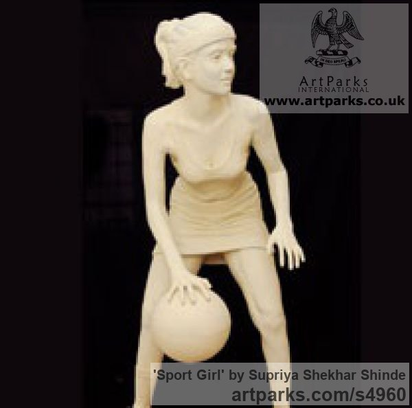 Fiber Garden Or Yard / Outside and Outdoor sculpture by sculptor Supriya Shekhar Shinde titled: 'Sport Girl (life size Young female Playing a Ball Game statue)'