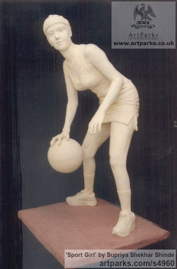 Fiber Garden Or Yard / Outside and Outdoor sculpture by sculptor Supriya Shekhar Shinde titled: 'Sport Girl (life size Young female Playing a Ball Game statue)' - Artwork View 2