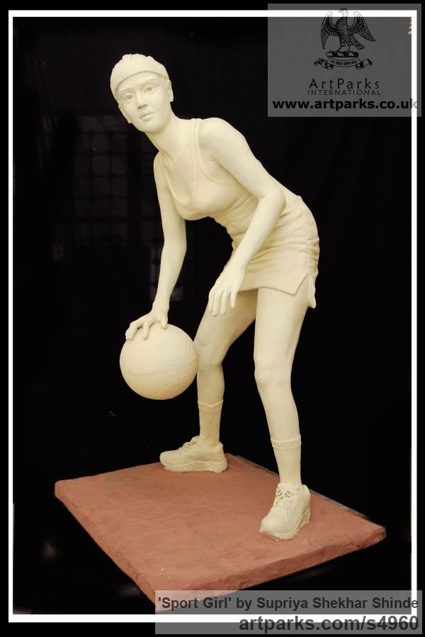 Fiber Garden Or Yard / Outside and Outdoor sculpture by sculptor Supriya Shekhar Shinde titled: 'Sport Girl (life size Young female Playing a Ball Game statue)' - Artwork View 3