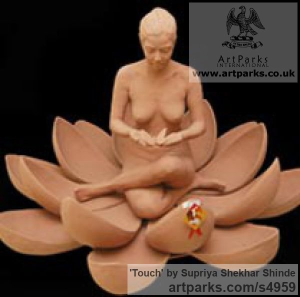 Fiber Portrait Sculptures / Commission or Bespoke or Customised sculpture by sculptor Supriya Shekhar Shinde titled: 'Touch (Squatting Seated Woman in a Lotus Flower sculpture)'